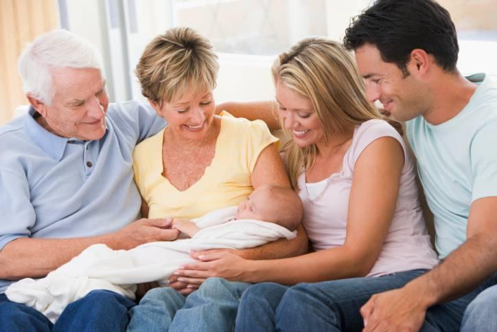 Tre generazioni: neonato, genitori, nonni