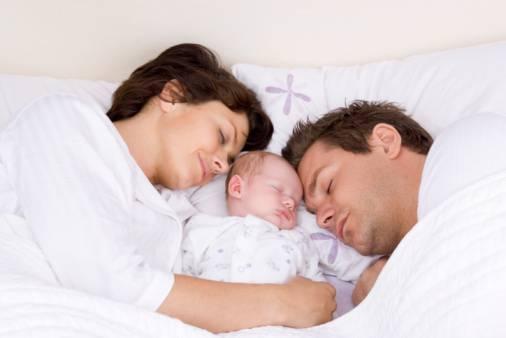 genitori e neonato che dormono insieme