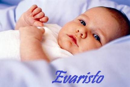 Neonato di trequarti, scritta nome Evaristo