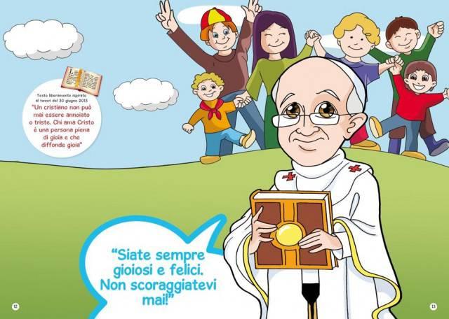Papa indica la strada ai bimb