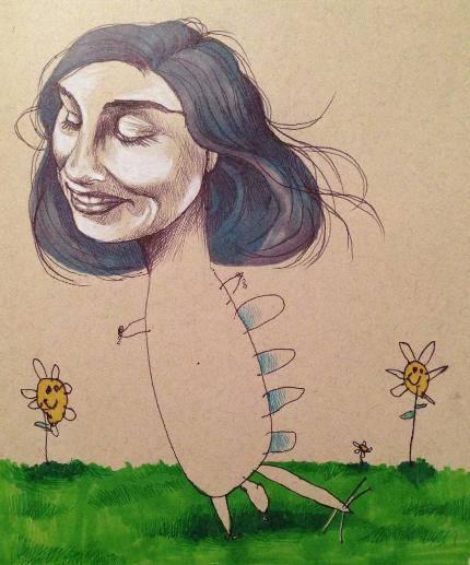 donna con testa gigante