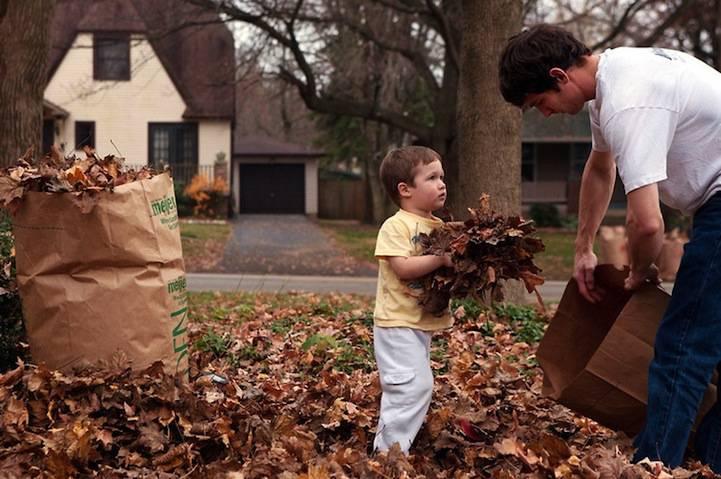 padre e figlio raccolgono le foglie secche dal giardino