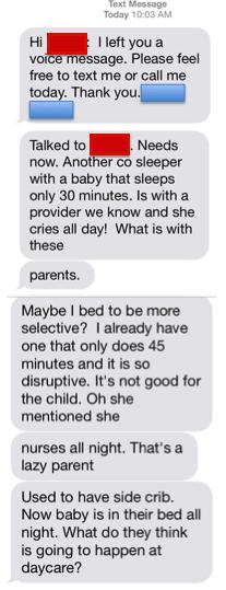 messaggio mamma e babysitter
