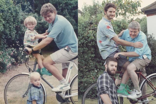 famiglia riunita sulla bici