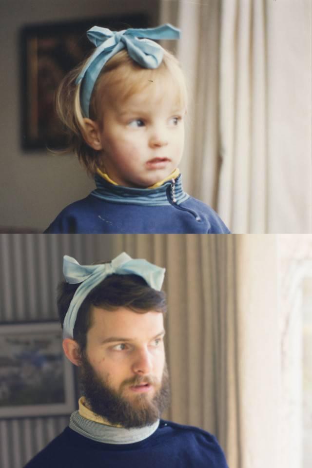 bambino e adulto con fiocco in testa