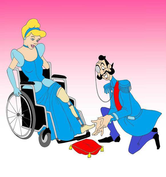 cenerentola su sedia a rotelle
