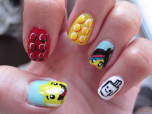 Lego Movie nail art