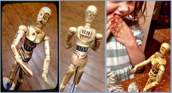 bambola legno C3po