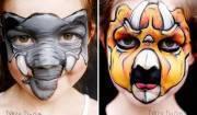 bambina con volto di felino disegnato