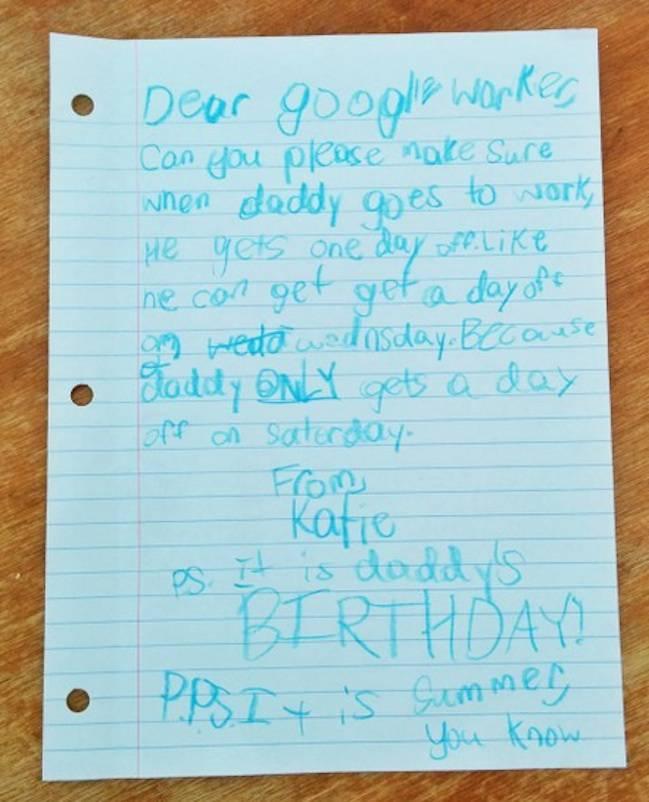 Lettera di una bambina a google