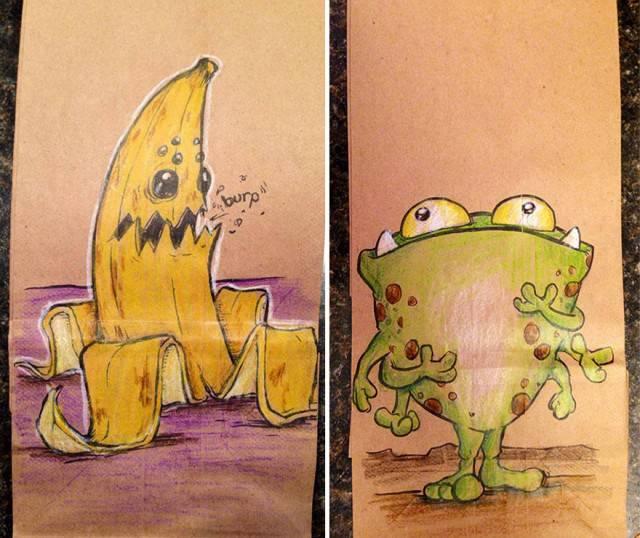 banana e rana su sacchetto