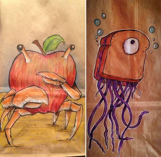 polipo e granchio su sacchetto