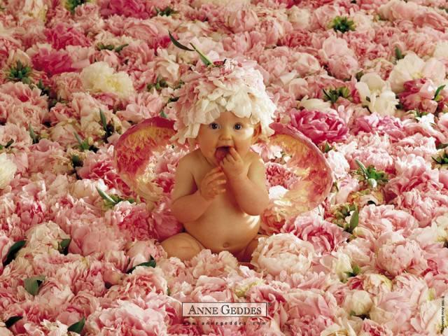 bebè tra i fiori