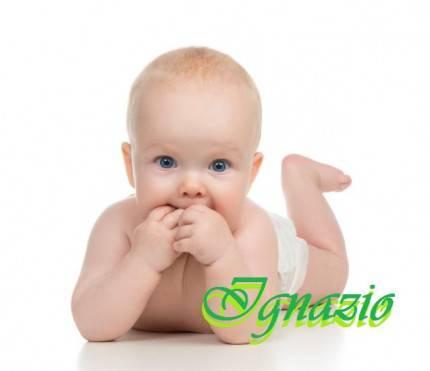 ignazio Child baby girl in diaper lying happy smiling