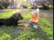 bambina gioca col cane
