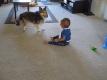 cane bimbo giovano insieme