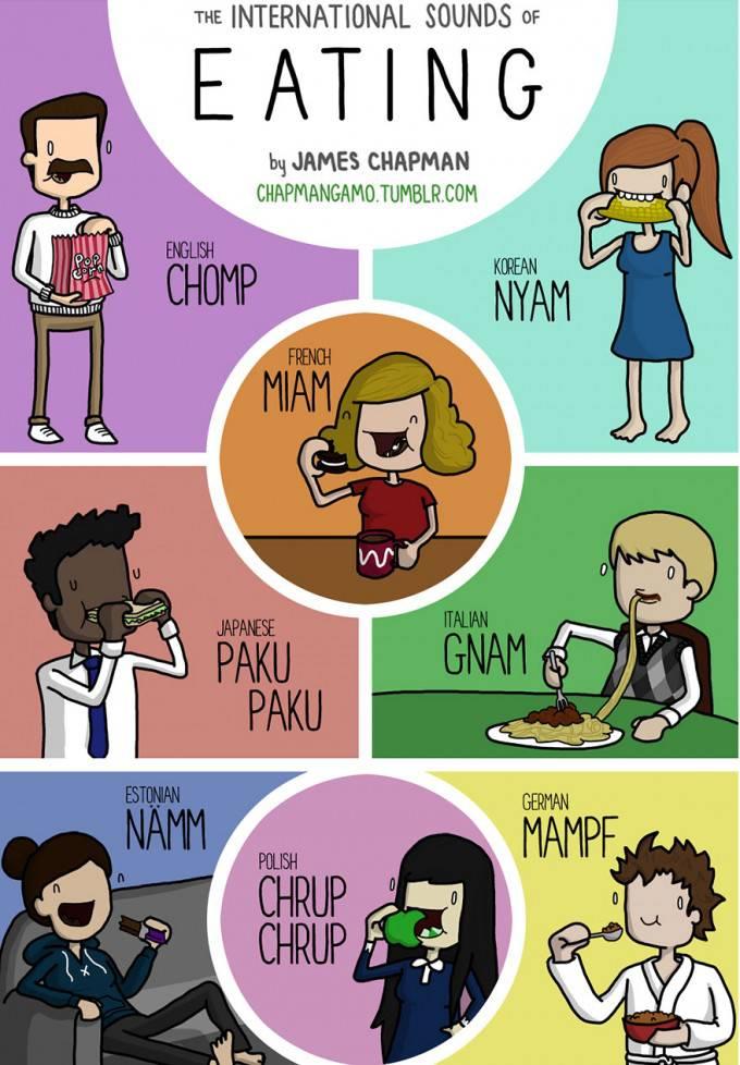 vignetta persone mangiano