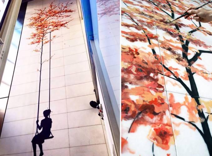 bimba su altalena murales