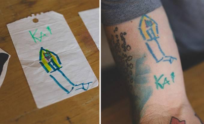 casa disegno e tatuaggio su braccio