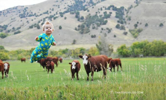bimbo vola in campagna con mucche
