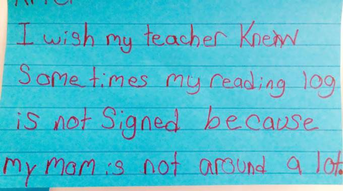 biglietto scritto da bambini