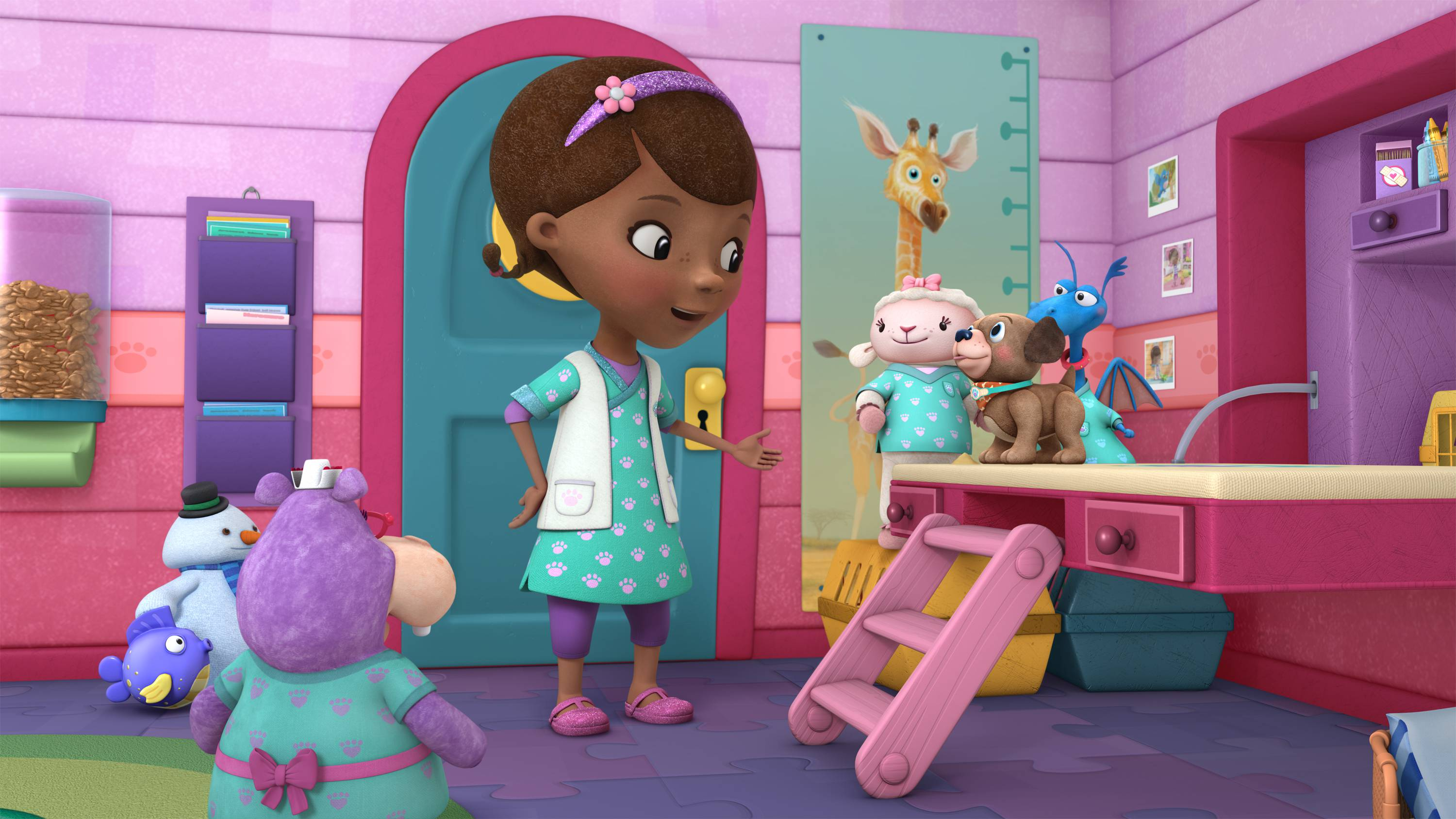 "DOC MCSTUFFINS - ""Fetchin' Findo"" - Doc McStuffins opens a new veterinary practice in her backyard clinic where she treats stuffed animals and toys -- in a ""Doc McStuffins"" programming event for kids age 2-7 that will highlight care and responsibility for pets. The multi-episode story arc, ""Doc McStuffins: Pet Vet,"" presented in collaboration with the ASPCA (The American Society for the Prevention of Cruelty to Animals(r)), Solid Gold Holistic Pet Food and Nationwide, begins FRIDAY, AUGUST 14 (9:00-10:00 a.m., ET/PT) on Disney Channel and WATCH Disney Junior. Additional pet-themed episodes of ""Doc McStuffins"" will roll out on Disney Channel, Disney Junior and WATCH Disney Junior. (Disney Junior) SQUEAKERS, CHILLY, HALLIE, DOC, LAMBY, FINDO, STUFFY"