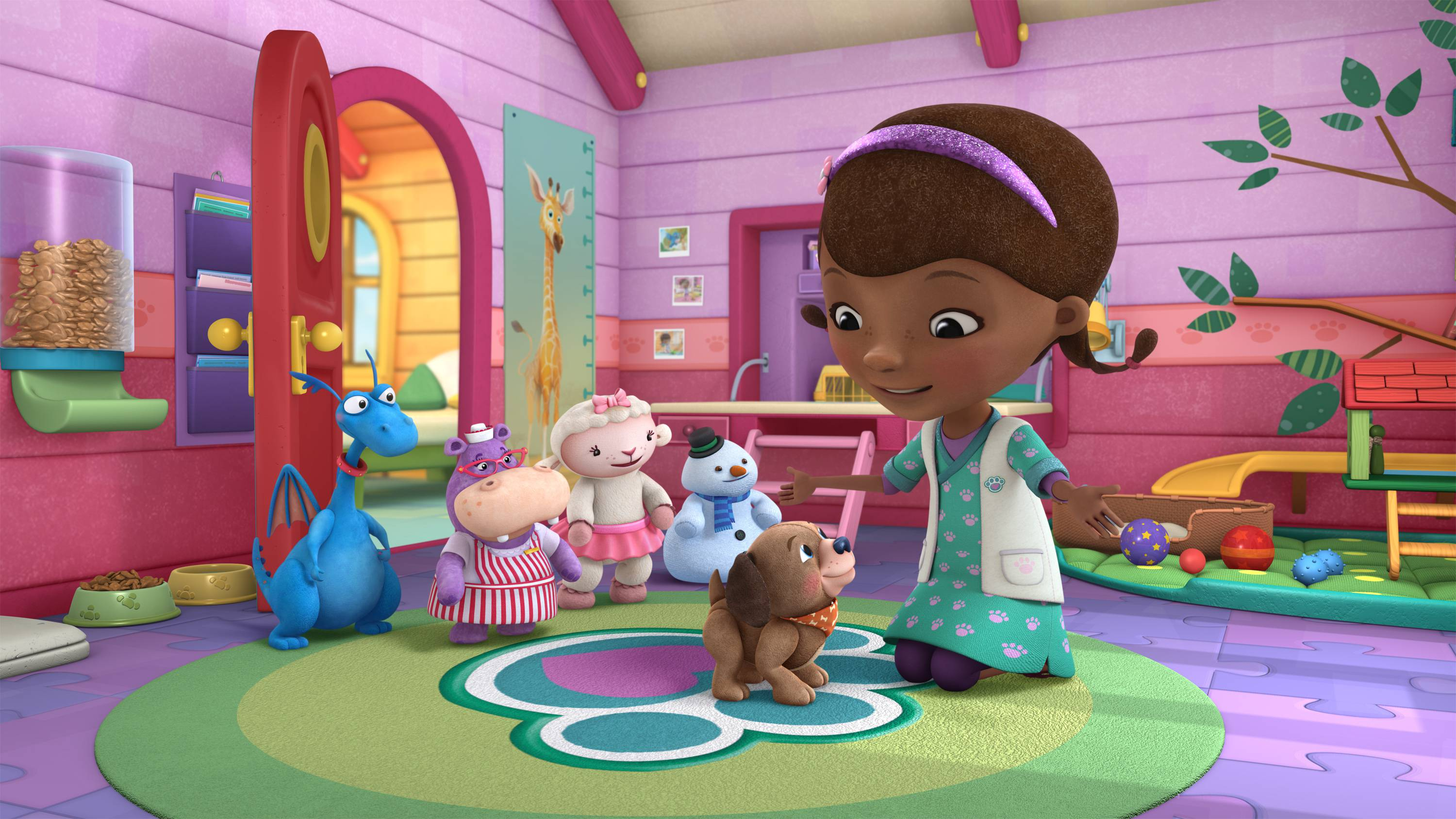 "DOC MCSTUFFINS - ""Fetchin' Findo"" - Doc McStuffins opens a new veterinary practice in her backyard clinic where she treats stuffed animals and toys -- in a ""Doc McStuffins"" programming event for kids age 2-7 that will highlight care and responsibility for pets. The multi-episode story arc, ""Doc McStuffins: Pet Vet,"" presented in collaboration with the ASPCA (The American Society for the Prevention of Cruelty to Animals(r)), Solid Gold Holistic Pet Food and Nationwide, begins FRIDAY, AUGUST 14 (9:00-10:00 a.m., ET/PT) on Disney Channel and WATCH Disney Junior. Additional pet-themed episodes of ""Doc McStuffins"" will roll out on Disney Channel, Disney Junior and WATCH Disney Junior. (Disney Junior) STUFFY, HALLIE, LAMBY, CHILLY, FINDO, DOC"