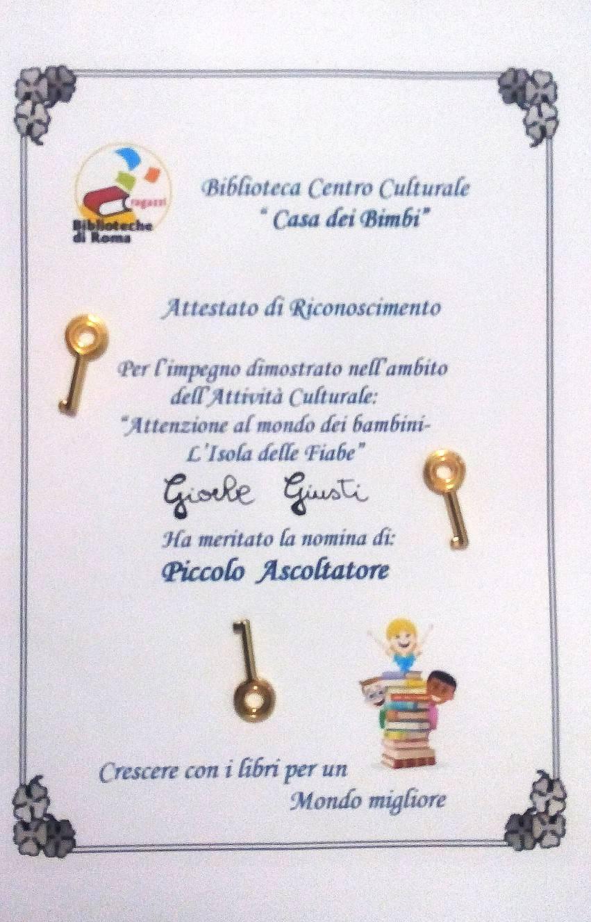 """attestato per la partecipazione all'attività culturale""""Attenzione al mondo dei bambini-L'Isola delle Fiabe"""""""