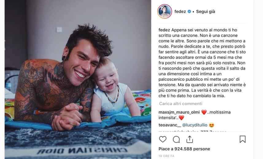"""Fedez e la dolcissima dedica a Leone: """"Ti ho scritto una canzone"""""""