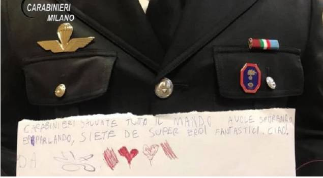 biglietto di ringraziamento ai carabinier