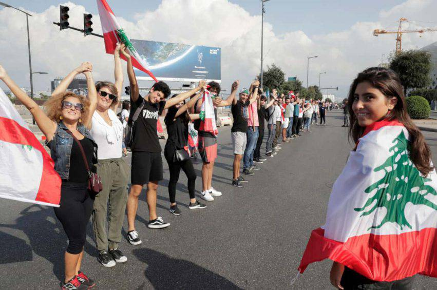 proteste libano catena umana