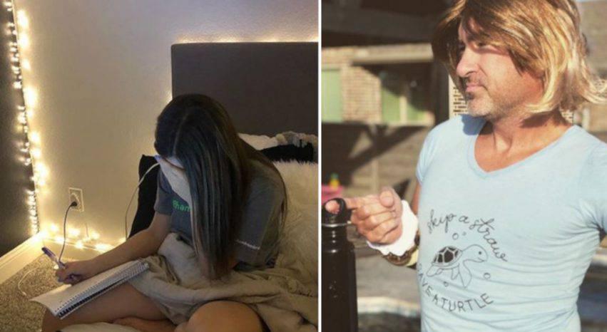 papà punisce figlia adolescente