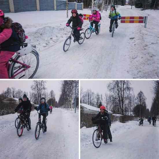 bambini in bicicletta in inverno 3