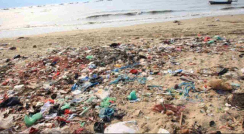 bambino pulisce una spiaggia