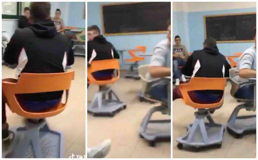 scontro banchi rotelle