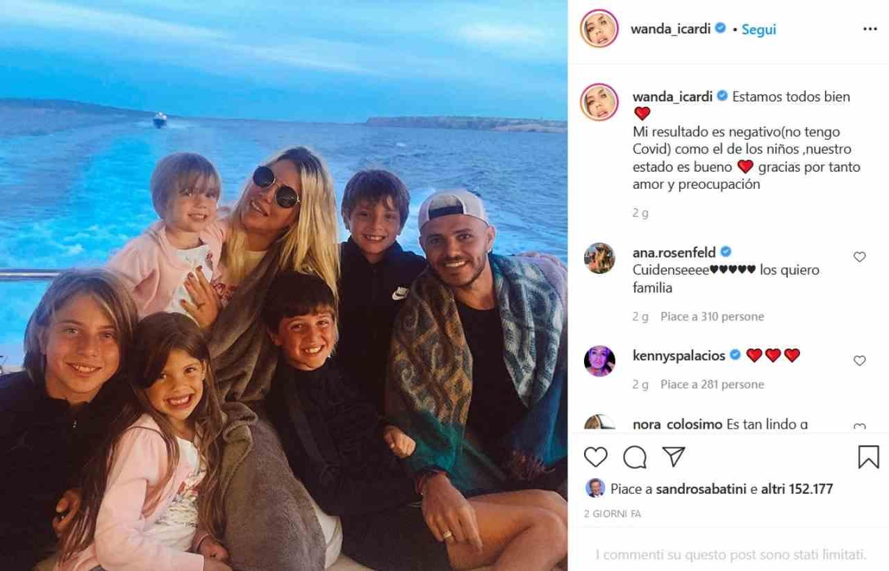 Wanda Nara e famiglia (fonte Instagram @wanda_icardi)