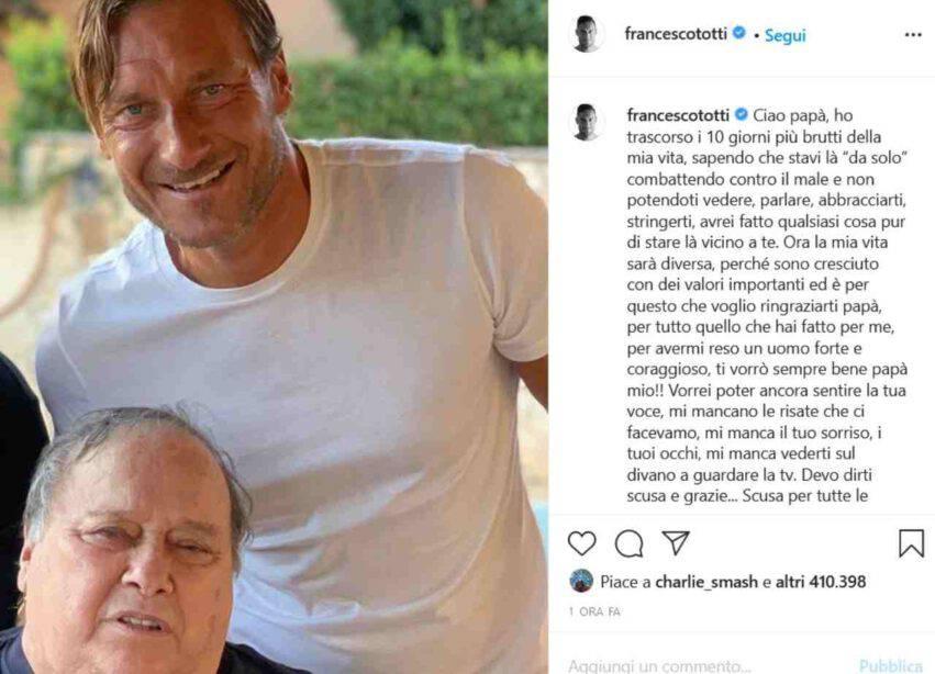 Francesco Totti e il papà Enzo (fonte Instagram @francescototti)