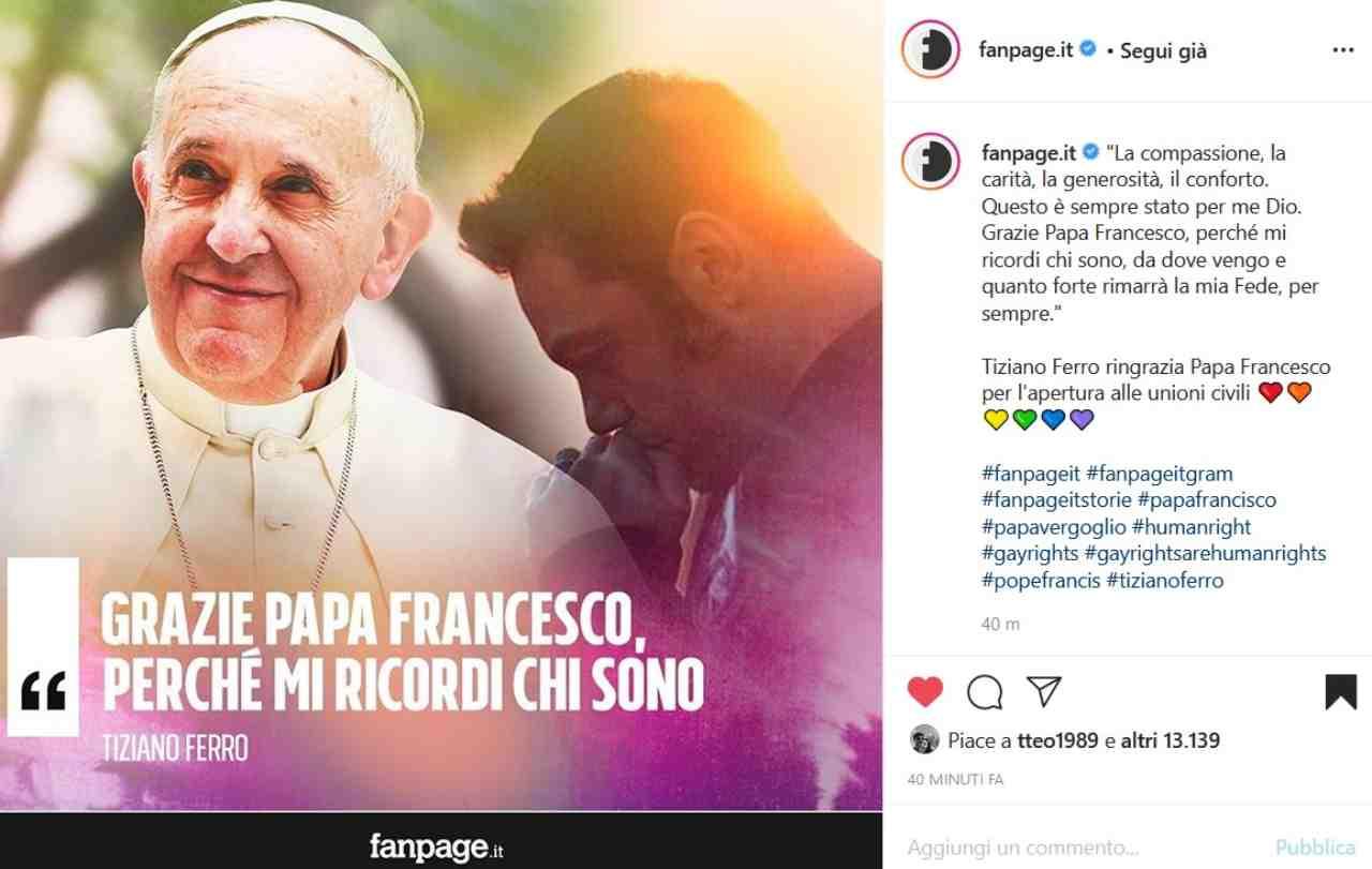 La reazione di Tiziano Ferro (fonte Instagram @fanpage.it)