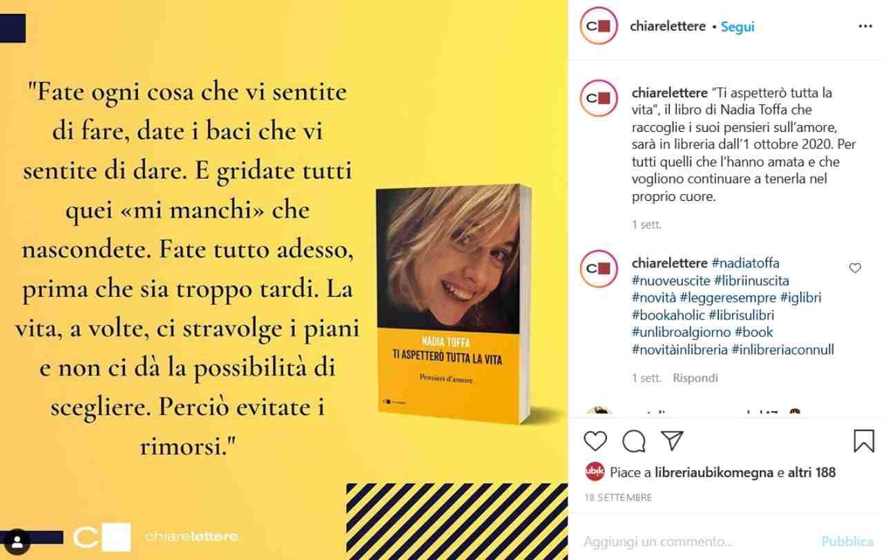 Libro Nadia Toffa (fonte Instagram @chiarelettere)