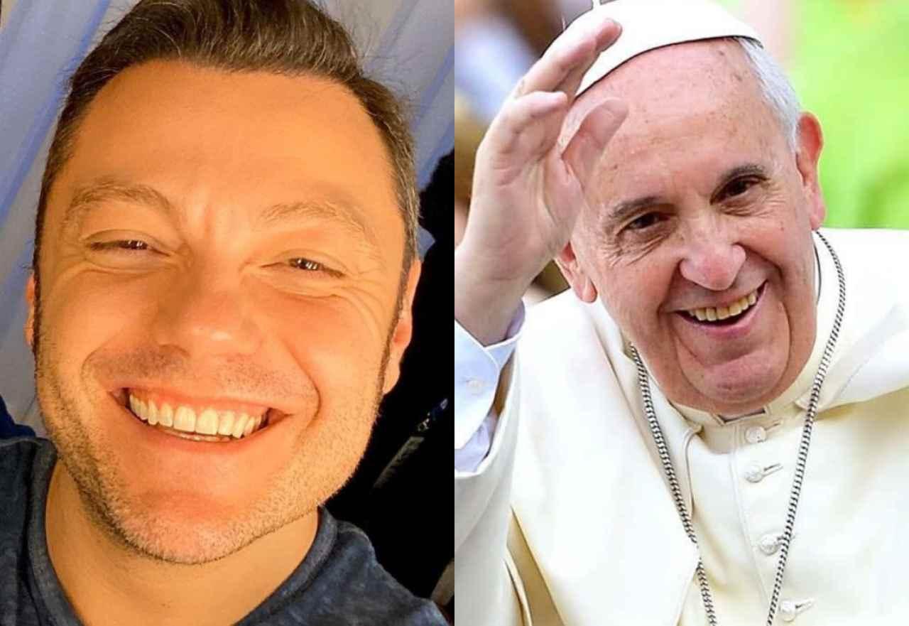 Tiziano Ferro e Papa Francesco (fonte Instagram @tizianoferro @vatican.catholicph)