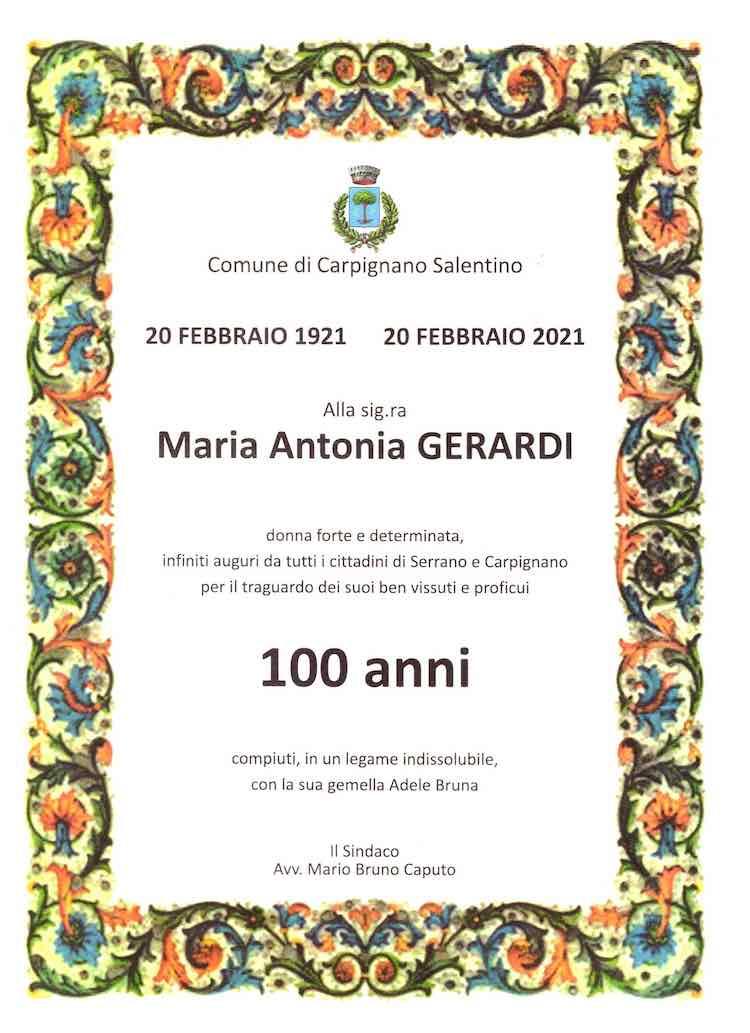 certificato 100 anni